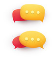 3d chat message speech bubble in yellow and red vector image