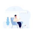 air conditioner concept young man sitting in home vector image