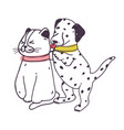 amusing dog annoying cat playful naughty vector image