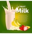 Banana strawberry sweet milkshake dessert cocktail vector image vector image