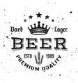 beer typographic monochrome vintage emblem vector image vector image