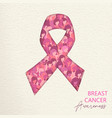breast cancer care cutout pink ribbon for help vector image vector image
