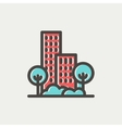 Building and trees thin line icon vector image