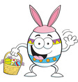 Cartoon egg wearing rabbit ears and holding an Eas vector image vector image