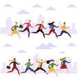 cartoon men and women run work people hurry vector image vector image