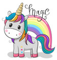 cartoon unicorn isolated on a white background vector image vector image