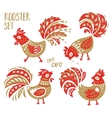chinese zodiac set 2017 - red rooster new year vector image