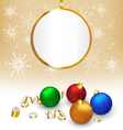 Christmas balls with streamers and frame on beige vector image