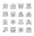 christmas new year line icon set editable stroke vector image vector image