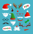 christmas photo booth santa hats mustache beard vector image vector image