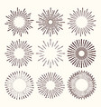 collection of trendy hand drawn retro sunburst vector image