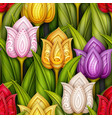 colored seamless pattern with tulips floral motifs vector image