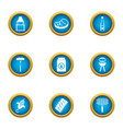 Cookery expert icons set flat style