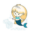 cute little mermaid with a treasure chest vector image vector image