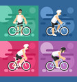 cyclists on sport bikes set vector image