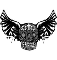 Day of the Dead Winged Skull vector image