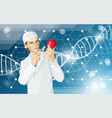 doctor does gmo modification to an apple vector image