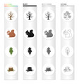 dry tree in the forest squirrel oak leaf stump vector image vector image