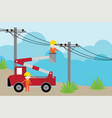 electrician on picker car crane and working with e vector image vector image