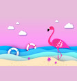 elegant pink bird flamingo and lifebuoy in the sea vector image