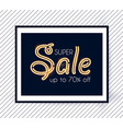 elegant sale design template with gold neon light vector image