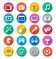 Entertainment flat color icons vector image vector image