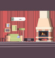 fireplace in interior relax with sofa in room vector image vector image