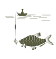 fisherman on boat and bream design template vector image