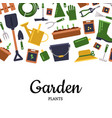 flat gardening icons background with place vector image