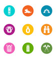 forest camping icons set flat style vector image vector image
