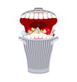 garbage can with teeth trash can hungry eats vector image