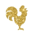 Glitter rooster with sparkles isolated on white vector image