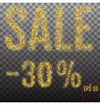 gold sale 30 percent shine salling background for vector image