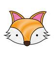 grated cute fox head wild animal vector image