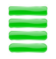 green glass buttons shiny rectangle 3d icons with vector image vector image