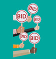 hands holding auction paddle vector image
