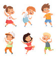 happy childhood various funny dancing kids vector image