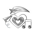 heart plane note music shooting star doodles vector image