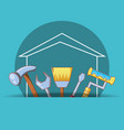 house building with home repair icons vector image