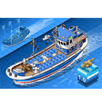 Isometric Fishing Boat in Navigation in Front View vector image vector image