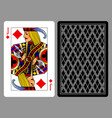 jack of diamonds playing card and the backside vector image vector image