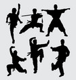 kungfu and martial art silhouette vector image vector image