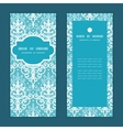 light blue swirls damask vertical frame vector image
