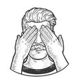 man covered his eyes with his hands sketch vector image vector image