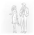 Meeting man and woman Talking and walking vector image vector image
