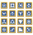 molecule icons set blue vector image vector image