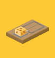 mousetrap and cheese isometric vector image vector image