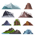 nature mountains set variety of mountain massif vector image