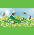 nature scene background with bees flying in garden