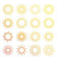 orange line sun icons vector image